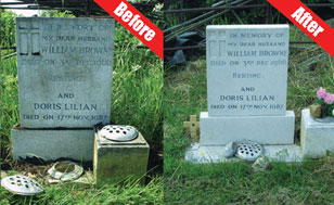 gravestone cleaning - Hills Cleaning Services